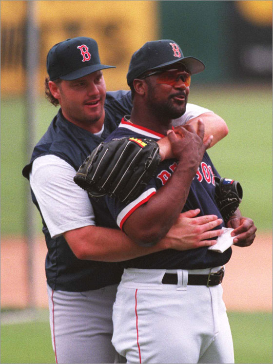BDD -- 4.6.95 Roger and hitting coach Jim Ed horsing around with the Red Sox