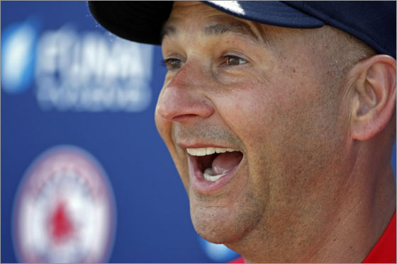 Red Sox manager Terry Francona cracks a big smile during his daily press briefing after the workout