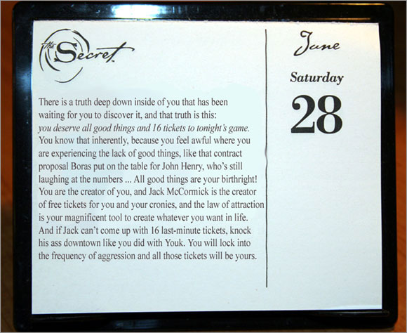 Manny's Secret of the Day calendar for June 28