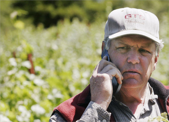 Tom Seaver, a former Hall of Fame pitcher for the New York Mets and Boston Red Sox, gets a call from Theo Esptein at his vinyard in Calistoga, California, U.S., on Thursday, May 22, 2008. Seaver feels like a rookie all over again.