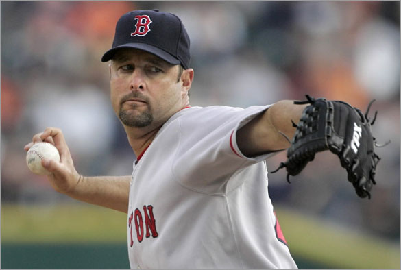 Red Sox starter Tim Wakefield pitches against the Detroit Tigers in the first inning of a baseball game Tuesday, May 6, 2008, in Detroit.