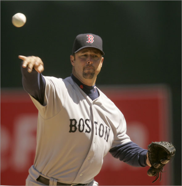 Boston Red Sox starting pitcher Tim Wakefield throws a pitch in the third inning against the Oakland Athletics during their MLB American League baseball game in Oakland, California April 15, 2009.