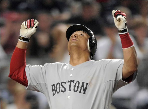 Red Sox batter Victor Martinez hit a two-out, two-run double last night
