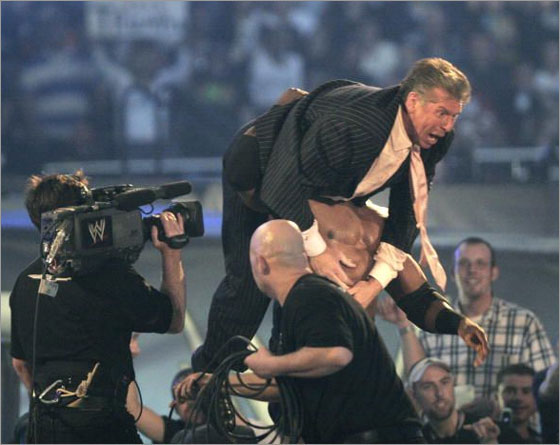 World Wrestling Entertainment owner Vince McMahon at Battle of the Billionaires at Ford Field in Detroit, on Sunday, April 1, 2007
