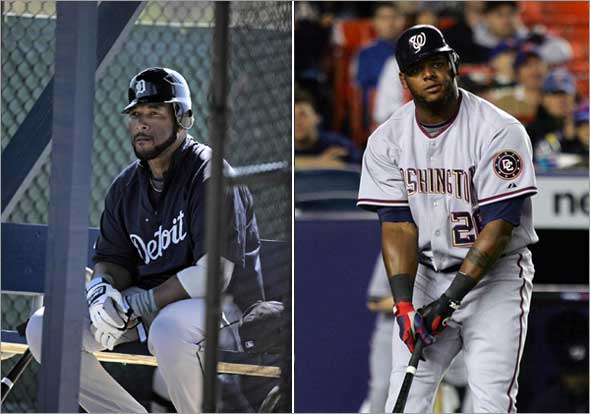Wily Mo Pena of the Washington Nationals reacts after striking out. Gary Sheffield waiting to bat during spring training