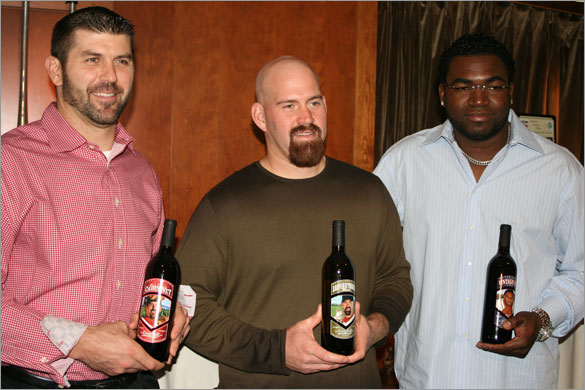 BDD - David Ortiz (Vintage Papi), Kevin Youkilis (SauvignYoouuk Blanc) and Jason Varitek (Captain Cabernet) from their Longball Cellars Charity Wine Launch from today at Fenway Park