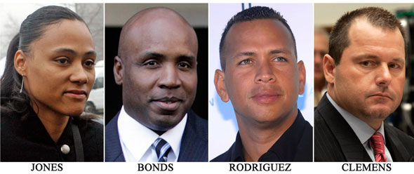 These are 2008 file photos showing Marion Jones, Barry Bonds, Alex Rodriguez and Roger Clemens.