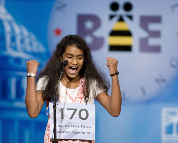 New York speller Neetu Chandak, 13, of Finger Lakes, New York, celebrates in the semi-final round of the 2009 National Spelling Bee in Washington, May 28, 2009.