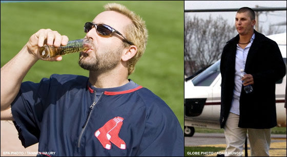 Red Sox infielder Kevin Millar takes a sip of a