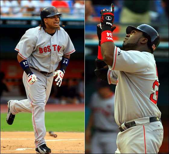 Manny Ramirez watches the 2,000th hit of his career, a three-run home run off Florida Marlins pitcher Brian Moehler. David Ortiz gestures at home plate after hitting a solo home run off Florida Marlins pitcher Anibal Sanchez in the third inning.