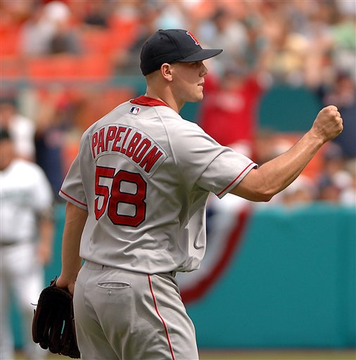 Red Sox relief pitcher Jonathan Papelbon pumps his fist after defeating the Florida Marlins 4-3 in a baseball game, Sunday, July 2, 2006, at Dolphin Stadium in Miami.