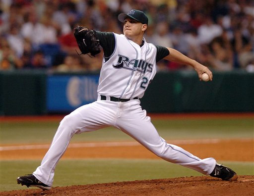 Tampa Bay Devil Rays starter Scott Kazmir pitches against the Boston Red Sox during the ninth inning Monday, July 3, 2006 at Tropicana Field in St. Petersburg, Fla. Kazmir pitched a complete game two-hit shutout, striking out 10 batters. The Devil Rays won 3-0.
