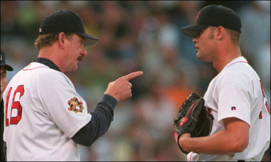 May 1, 2001 -- Red Sox vs. Oakland  pitching coach Joe Kerrigan talks to Paxton Crawford on the mound.