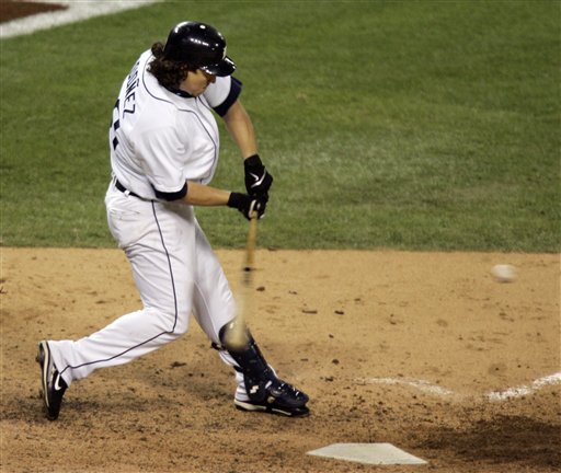 Magglio Ordonez hits a three run home run in the ninth inning against Oakland Athletics pitcher Huston Street in Game 4 of the American League Championship Series in Detroit, Saturday, Oct. 14, 2006. The Tigers defeated the Athletics 6-3 to sweep the Athletics and advance to the World Series.