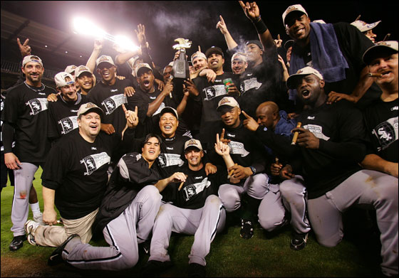 The Chicago White Sox gather on the field for a group photo after they win the American League Pennant by a score of 6-3 against the Los Angeles Angels of Anaheim during Game Five of the American League Championship Series on October 16, 2005 at Angel Stadium in Anaheim, California. The White Sox win their first American League Pennant since 1959.