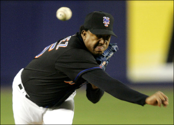 Pedro Martinez delivers a pitch in the second inning against the Washington Nationals Thursday April 6, 2006 at New York's Shea Stadium.