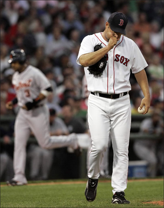 Red Sox starting pitcher Tim Wakefield reacts as Detroit Tigers' Gary Sheffield rounds third to score on Magglio Ordonez' three-run homer in the third inning of their baseball game at Fenway Park in Boston Tuesday, May 15, 2007.