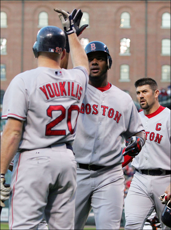 Wily Mo Pena of the Red Sox is congratulated by Kevin Youkilis after hitting a two-run home run to knock in Jason Veritek during the second inning against the Baltimore Orioles May 15, 2006 at Camden Yards in Baltimore, Maryland.