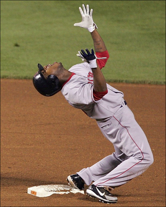 Pinch runner Willie Harris of the Red Sox reacted after he was caught stealing second base for the final out of the game in the top of the 9th inning on May 17, 2006 at Oriole Park at Camden Yards in Baltimore, Maryland.