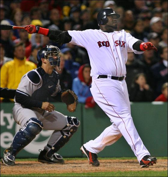David Ortiz and Yankees catcher Jorge Posada watched the flight of Ortiz' three run home run.