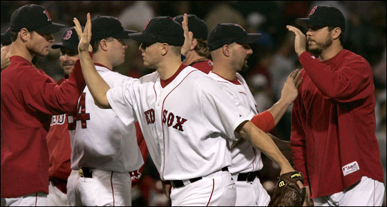 Red Sox vs. Tampa Bay Devil Rays at Fenway Park -- Sox closer Jonathan Papelbon, at center, got the save and the win for starter Josh Beckett, at right.