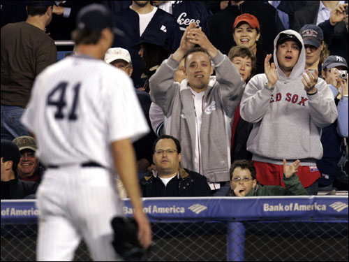 Randy Johnson heard it from two Red Sox fans as he headed to the dugout after being relieved in the fourth inning.