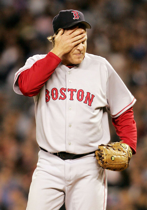 Curt Schilling wiped sweat off of his forehead in the middle of a difficult fifth inning.