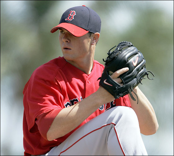 Red Sox starting pitcher Jon Lester pitches to Tampa Bay Devil Rays' Damon Hollins during the first inning of a spring training baseball game in St. Petersburg, Fla., on Thursday, March 16, 2006. (AP Photo/Keith Srakocic)