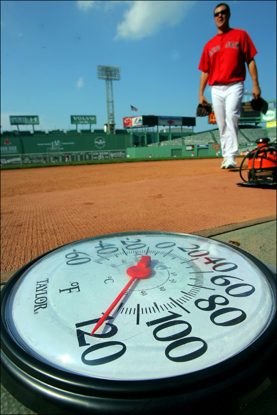 Red Sox closer Jonathan Papelbon, on his way into the clubhouse from the outfield during batting practice came upon a thermometer that had been in the sunshine on the steps of the dugout, and it read over 100 degrees.