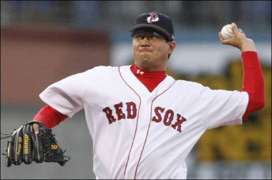Pawtucket Red Sox starter Abe Alvarez delivers a pitch to the Indianapolis Indians during the first inning of a minor league baseball game Thursday, April 6, 2006, in Pawtucket, R.I.