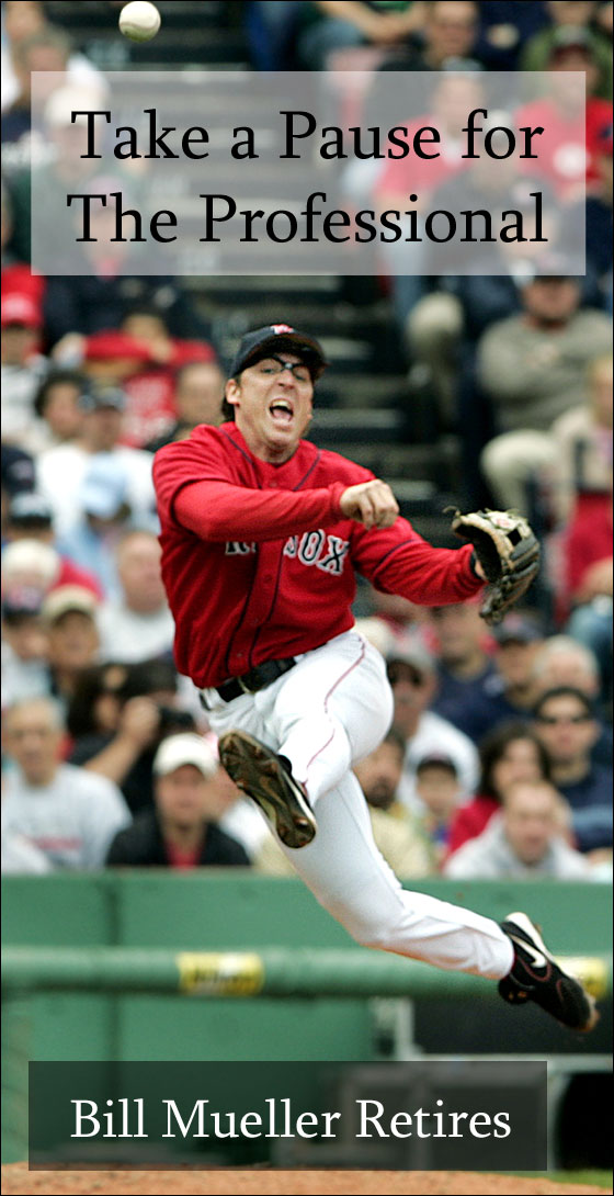 6.19.05: Red Sox 3B Bill Mueller made a nice play to get the Pirates Jason Bay on a ball in the fourth inning.