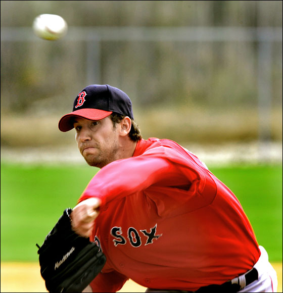 Red Sox Spring Training at the Red Sox Player Development Complex. Craig Breslow  is hoping to stand out among the many young pitching arms in training camp.