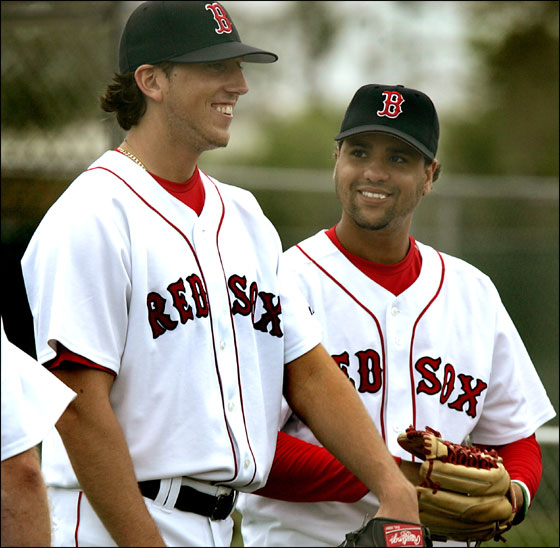 Red Sox Spring Training at the Red Sox Player Development Complex. Rookie pitcher Craig Hansen, at left, and Manny Delcarmen, at right