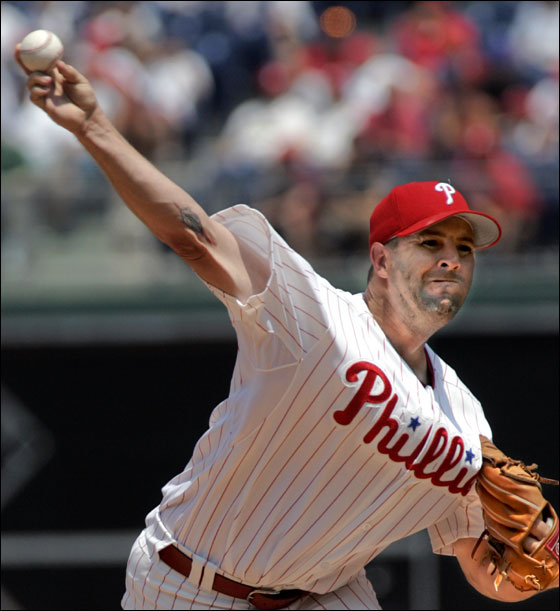 Philadelphia Phillies pitcher Cory Lidle throws against the Arizona Diamondbacks in the first inning of their baseball game Thursday, July 27, 2006, in Philadelphia. Chase Utley extended his hitting streak to 27 games and Lidle boosted his trade value with four-hit ball over eight innings to lead the Phillies over the Diamondbacks 5-2