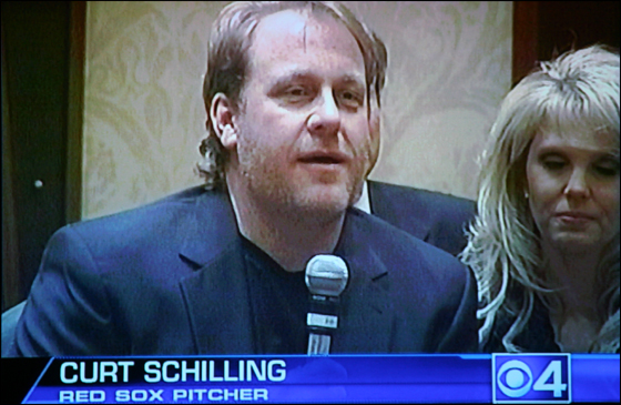 Curt Schilling, who was in Warwick, ,Rhode Island yesterday to receive the Lou Gehrig award