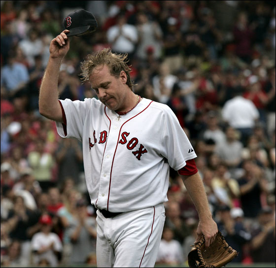 Boston Red Sox vs. Philadelphia Phillies-Game 2 - Curt Schilling tips his cap to the fans after leaving with bases loaded in the 7th inning.