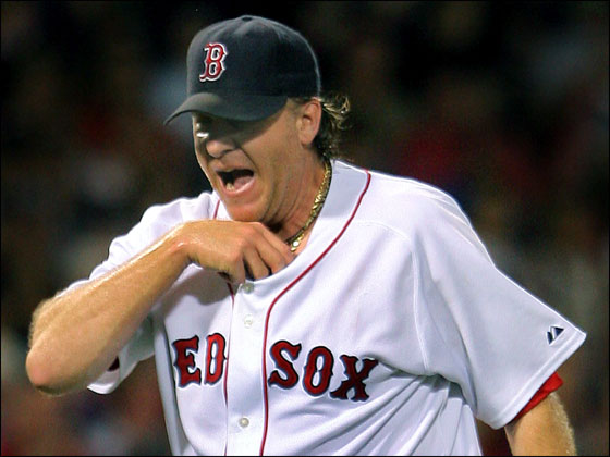 Curt Schilling howled in disgust after he gave up three runs in the top of the third inning, putting his team in a 6-1 hole.