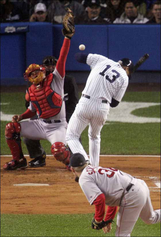 October 19, 2004, Schill goes high and tight on A-Rod