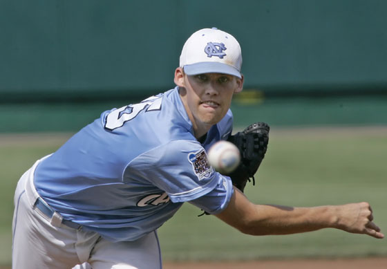 North Carolina starting pitcher Daniel Bard delivers against Cal State Fullerton in the first inning of a College World Series baseball game in Omaha, Neb., Wedesday, June 21, 2006.