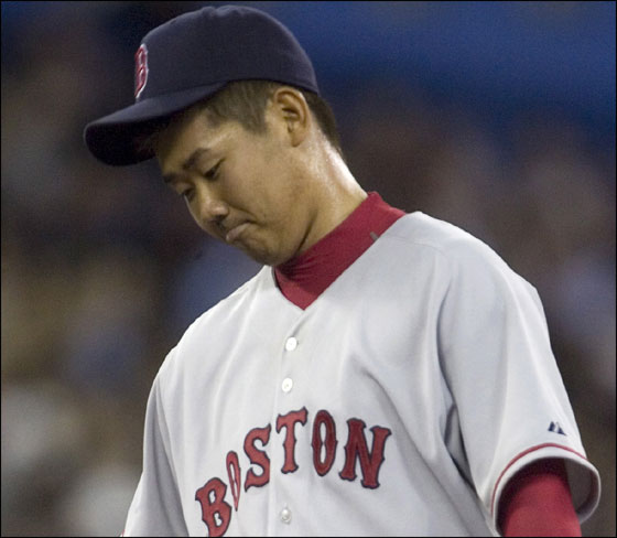 Red Sox starting pitcher Daisuke Matsuzaka stands on the mound during the fourth inning baseball action against the Toronto Blue Jays in Toronto, Tuesday, April 17, 2007.