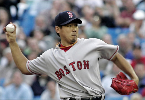 Red Sox' Daisuke Matsuzaka pitches to the Toronto Blue Jays during the third inning of their MLB American League baseball game in Toronto