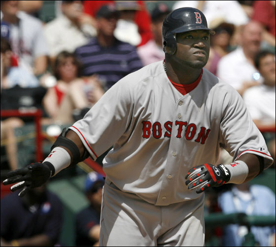 Red Sox David Ortiz watches the light of his 3 run home run off of Texas Rangers starting pitcher Kevin Millwood during 5th inning action on Monday  April 3, 2006. Matthew J. Lee/Globe staff