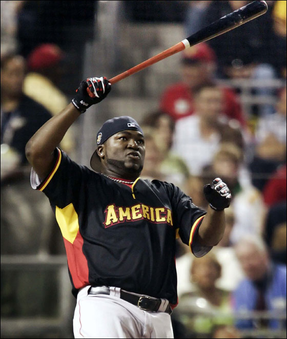 American League All-Star David Ortiz of the Boston Red Sox bats during the Home Run Derby at PNC Park in Pittsburgh.