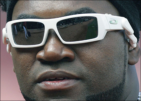 Boston Red Sox's David Ortiz wears a pair of sunglasses with built-in headphones before the start of a baseball game against the Kansas City Royals, Sunday, Sept. 10, 2006, in Boston. The Red Sox won 9-3.