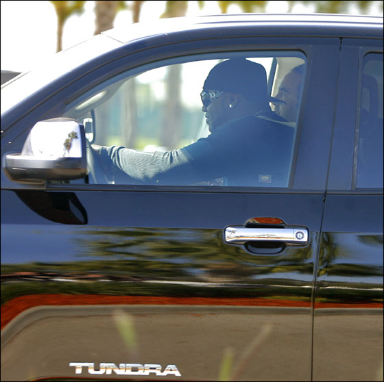 Red Sox DH David Ortiz peels out of the  parking lot at the minor league complex this afternoon behind the wheel of a truck that he said team owner John Henry gave him today as a gift.