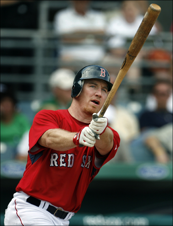 Red Sox rightfielder J.D. Drew at the plate.