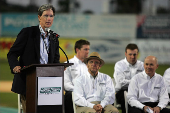 DAYTONA, FL - FEBRUARY 14: Boston Red Sox team owner John Henry speaks at a press conference announcing a partnership between Roush Racing and Fenway Sports Group at Jackie Robinson Ball Park on February 14, 2007 in Daytona, Florida.