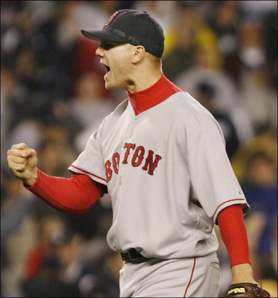 Red Sox closer Jonathan Paplebon celebrates the Red Sox' 5-3 victory over the New York Yankees at the conclusion of their baseball game, Thursday, May 11, 2006, at Yankee Stadium.