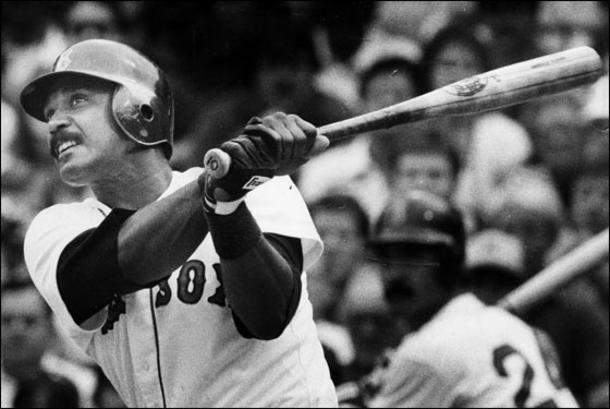 8/19/1984: Red Sox Jim Rice hits a home run.