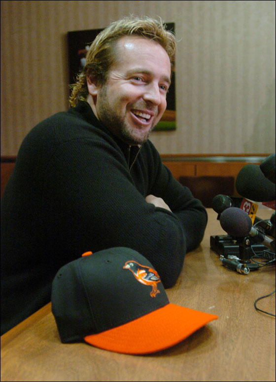 New Baltimore Orioles first baseman Kevin Millar talks with reporters, Thursday, Jan. 12, 2006, in Baltimore. Millar agreed to a $2.1 million, one-year contract Thursday with the Orioles, who hope the former Boston Red Sox star can provide leadership and some punch in the lineup.